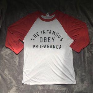 Obey Red and White Baseball Tee Propaganda